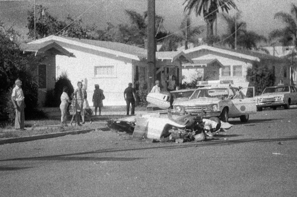After the collision, the Cessna was literally torn apart and fell to the ground in various sections and locations in the neighborhood.<br /> <br /> I used this news photo of the crumpled fuselage to help determine the Cessna's impact point on Polk Avenue.
