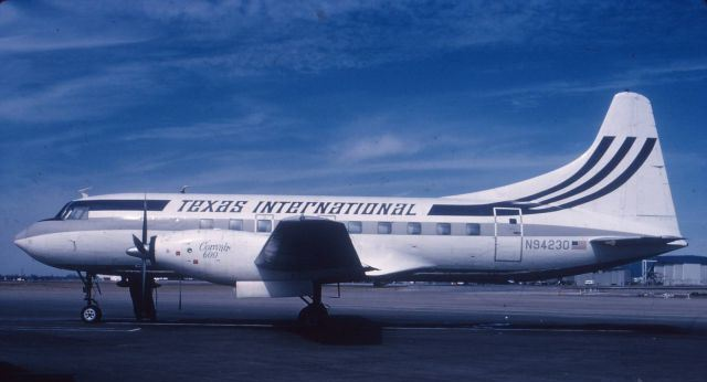 During 1968, and now operating under Texas International Airlines, the aircraft was converted to a Model 600. <br /> <br /> The conversion consisted of replacing the original Pratt and Whitney R-2800 radial engines and three-blade propellers with Rolls-Royce Dart Turboprop engines and four-blade Dowty Rotol propellers. The Model 600 conversions were performed by Convair Aircraft.
