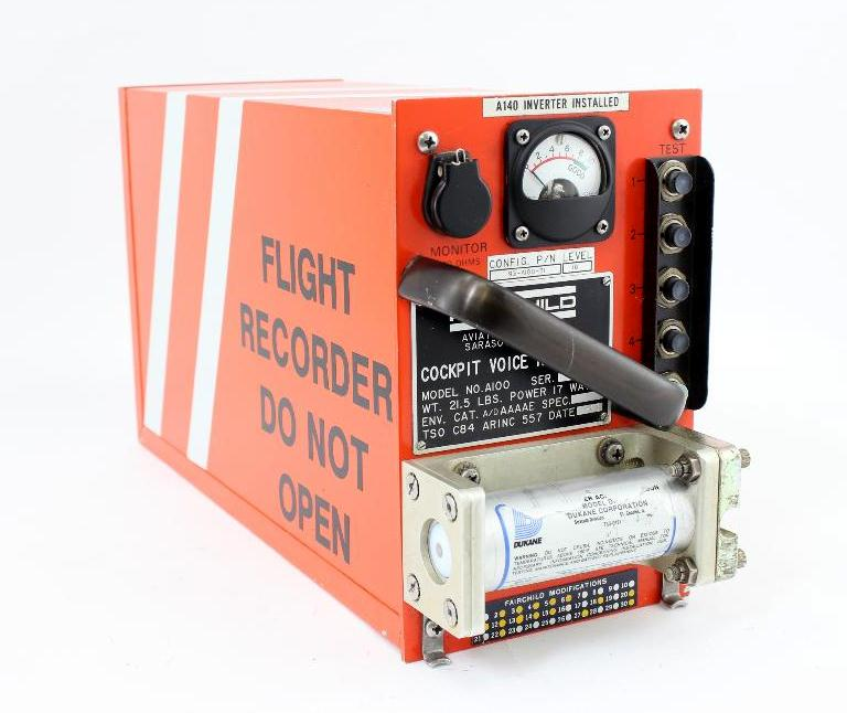 COCKPIT VOICE RECORDER (BLACK BOX)<br /> <br /> Flight 655 utilized a Fairchild A-100 Cockpit Voice Recorder (CVR), S/N: 1334. The recorder was recovered in good condition considering the impact and was not exposed to fire, heat or smoke. A full 34 minute record of audio data was transcribed.<br /> <br /> The Fairchild Model A-100 CVR provides a 30+ minute endless loop recording of cockpit related communications and sounds on magnetic tape. The audio data includes pilot conversation (Captain and First Officer) and radio communications, while a Cockpit Area Microphone (CAM) records sounds within the flightdeck (ie: engine sounds, audible alerts, and movement of levers).