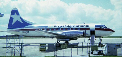 By the early 1970s, N94230 was operating the line as a Convair 600 and sporting a freshly painted red, white and blue livery. It's route structure took the aircraft through most of the southern region of the United States.