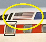 This photograph depicts the flag decal's location on a Texas International Convair 600.