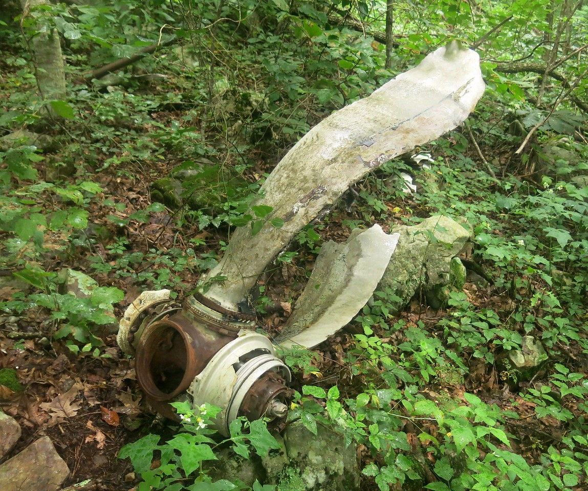 The Dowty Rotol propeller pictured here was from the left engine and also exhibits rotational damage. As with the right propeller, this propeller was also missing two of the four blades.