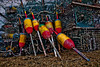 A faux High Dynamic Range image of Lobster Traps and Buoys.  Orrs island, Maine.
