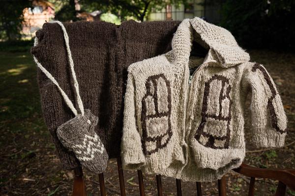 Maude Joe - Cowichan Knitter and her Cowichan Sweater - Cowichan Valley, Vancouver Island, British Columbia, Canada