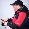 Playing a skimmer on rod and line, Will Raison fishes a small cage feeder with dead maggots and fishmeal for bream. © 2012 Brian Gay