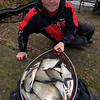 final catch shot, around 25-30 lb bream and skimmers, Will Raison fishes a small cage feeder with dead maggots and fishmeal for bream. © 2012 Brian Gay