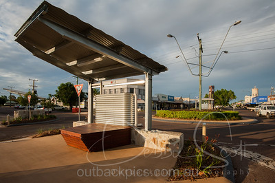 Rain tank feature, Eagle Street, Longreach