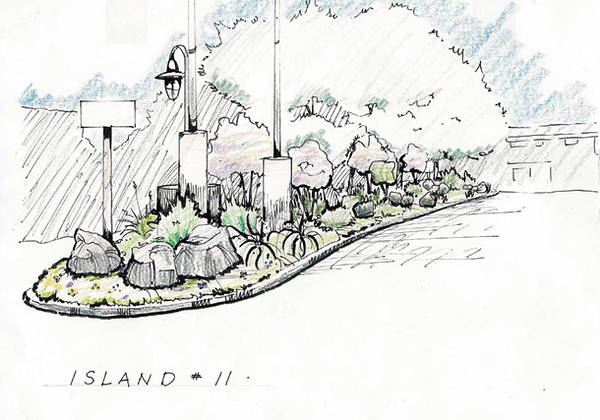 A series of concept drawings was developed for the existing medians of this large residential community...with an accompanying plant list of native and Mediterranean species that do well in this area.