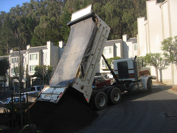 Amended soil is delivered for improvements in adjacent planting areas.