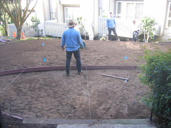 A new lawn and decomposed granite landing are laid out.