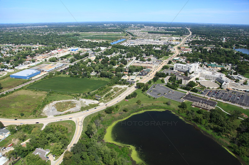 Aerial photo of Dyer, Indiana over US 30 (Joliet St, Lincoln Highway). Franciscan Saint Margaret Hospital on the right. - August 2012