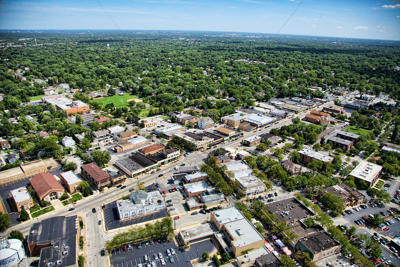 Aerial photo of downtown Homewood, Illinois taken on Saturday, August 18, 2012 looking southeast over Dixie Highway.