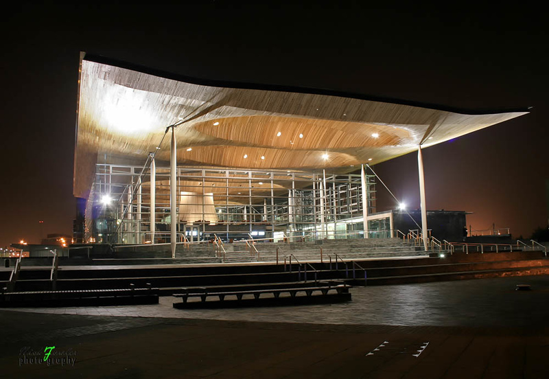 Senedd - The National Assembly for Wales at night