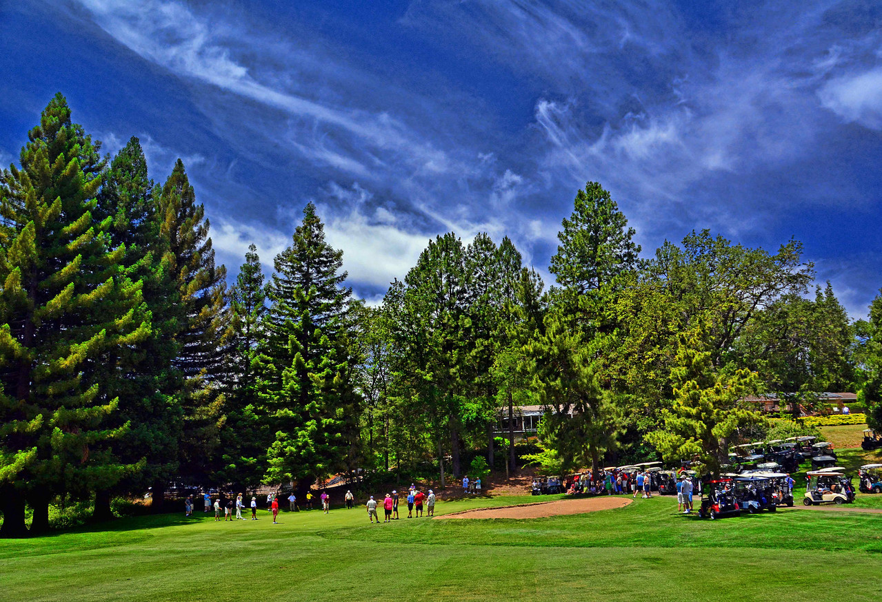 Crowds Watch Playoff Action on the 14th Hole of ASCC's Mens Invitational 2013