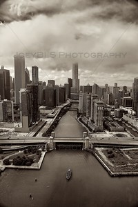 Aerial Chicago at Chicago River