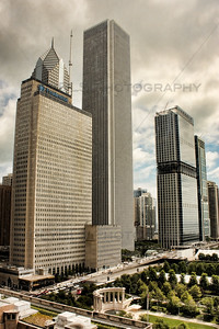 The Prudential Towers in Chicago alongside the Aon Center along Randolph St near Michigan Ave.