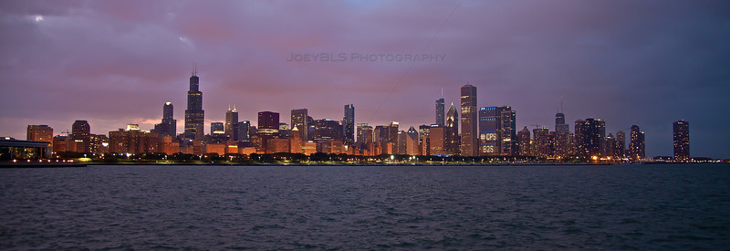 The Chicago skyline as seen from the Adler Planetarium just after sunset.