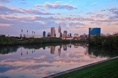 Indianapolis, Indiana Skyline on the White River at Sunset