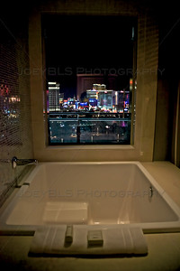The bathroom view from the Cosmopolitan Hotel and Casino in Las Vegas.