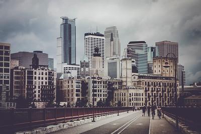 Downtown Minneapolis, Minnesota from Pedestrian Bridge