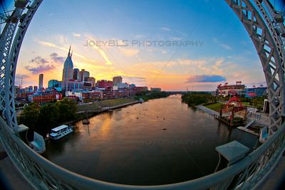 Downtown Nashville, Tennessee at the Cumberland River at Sunset