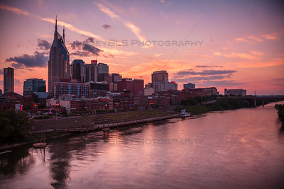Downtown Nashville Sunset on the Cumberland River