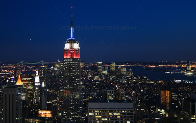 New York City and Empire State Building at Night from Rockefeller Center