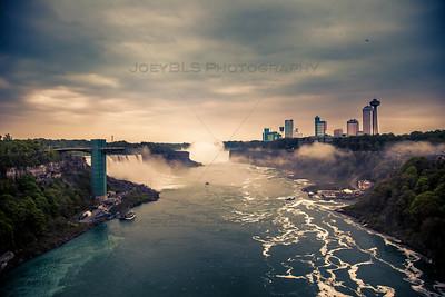 Misty Moody Sunset at Niagara Falls from the Rainbow Bridge