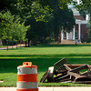 Campus Construction:  constructoin cone with aonstruction and memorial hall in the backround.  7-29-04  photo by:  Kevin Quinlan