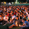 Shots of speakers and students participating int the 9-11 memorial candle light vigil.<br /> 9-11-03<br /> photo by: Kevin Quinlan