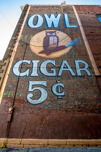 Owl Cigar 5 Cents Ghost Sign in Downtown Columbia City, Indiana