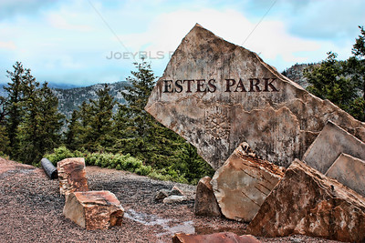 The rock that welcomes visitors to Estes Park, Colorado
