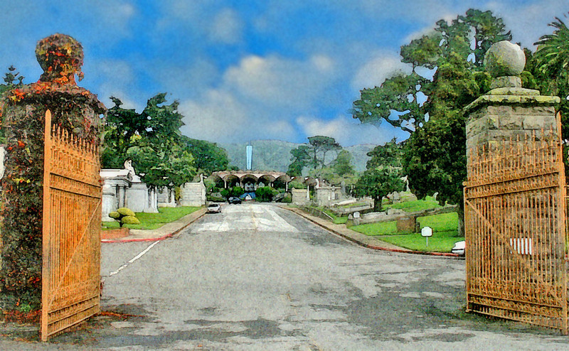 Main Entrance of Holy Cross Cemetery, Colma, CA
