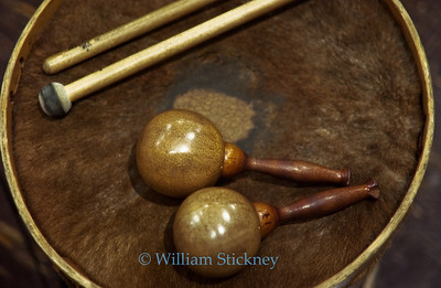 Folk drum and maracas.