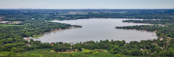 Aerial Cedar Lake, Indiana with Chicago Skyline on the Horizon