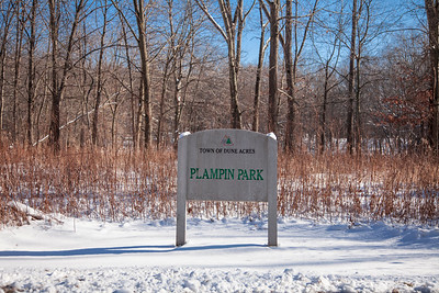 Plampin Park in Dune Acres, Indiana with Winter Snow