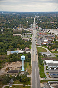 Aerial Griffith, Indiana over Ridge Rd.