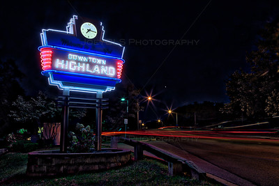 Downtown Highland, Indiana Neon Welcome Sign