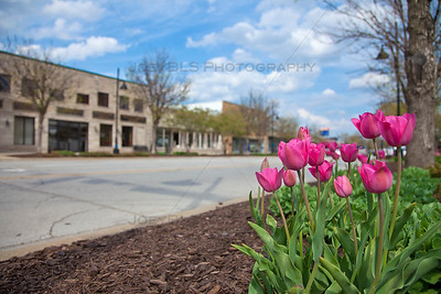 Downtown Highland, Indiana in the Spring on Highway Avenue