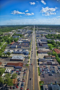 Aerial photo of Highland, Indiana looking south down Indianapolis Blvd.
