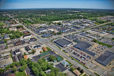 Aerial photo of Highland, Indiana looking southeast over 45th St. towards Indianapolis Blvd. The Highland car dealerships can be seen along US 41.
