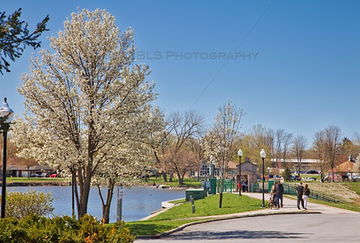 Spring along Lake George in Downtown Hobart, Indiana