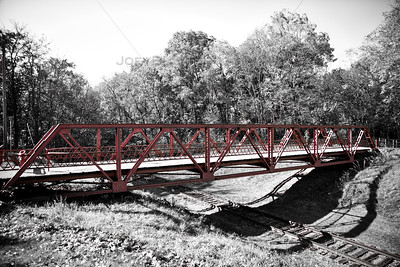 Walking Bridge over Abandoned Railroad in Knox, Indiana