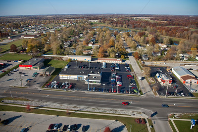 Aerial photo of Lowell, Indiana businesses on US 2 in the Fall