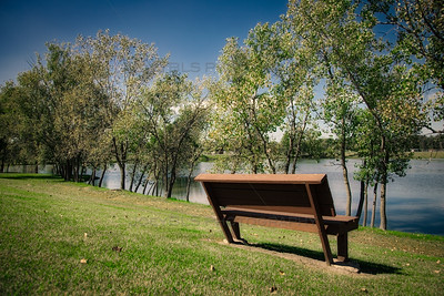 Bench at Hidden Lake Park in Merrillville, Indiana