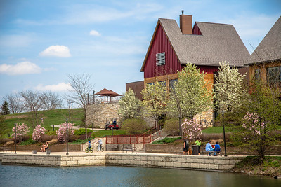 Centennial Park in Munster, Indiana - Lake and Clubhouse in Spring