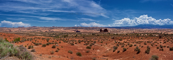 A panoramic photo of Arches National Park near Moab, Utah.