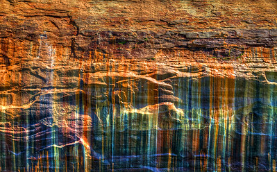 The wall of one of the cliffs along Lake Superior at Painted Rocks National Park near Munising, Michigan in the Upper Peninsula.