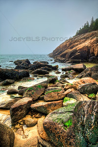 The rocky beach at Acadia National Park near Bar Harbor, Maine.