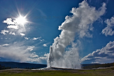 The Old Faithful geyser at Yellowstone National Park, one of the most popular attractions in the park. Old Faithful erupts at approximately every 91 minutes.